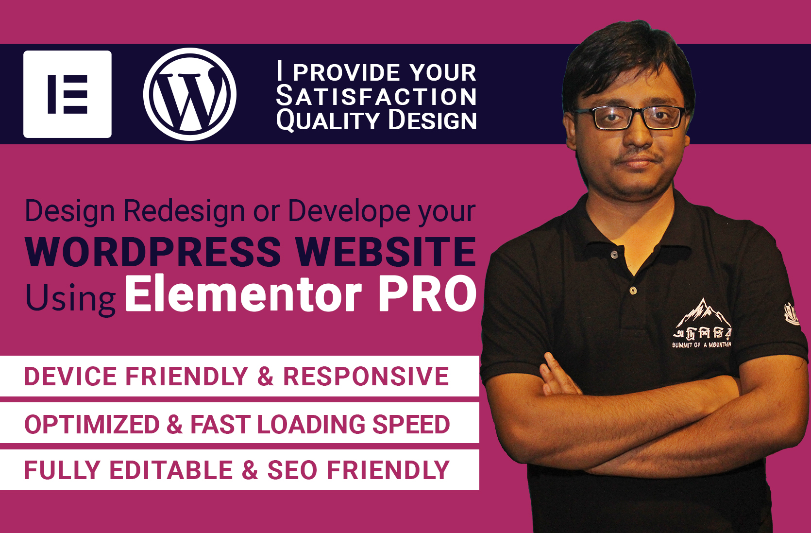 I will design redesign or develop your wordpress website using elementor pro