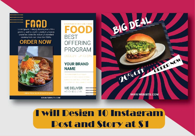 Instagram Post and Story Design at $1