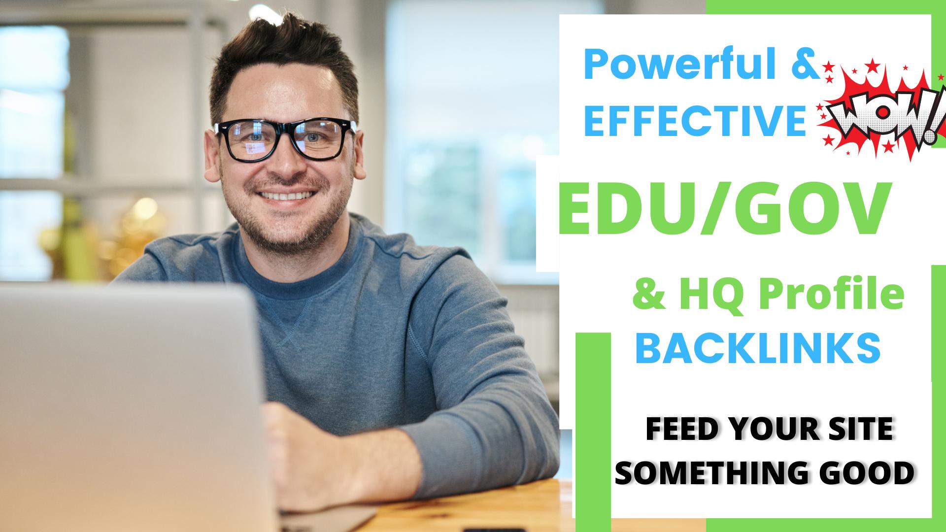 20 plus EDU/GOV & 100 DOFOLLOW HQ Profile Backlinks Premium Offer - Feed your site something good
