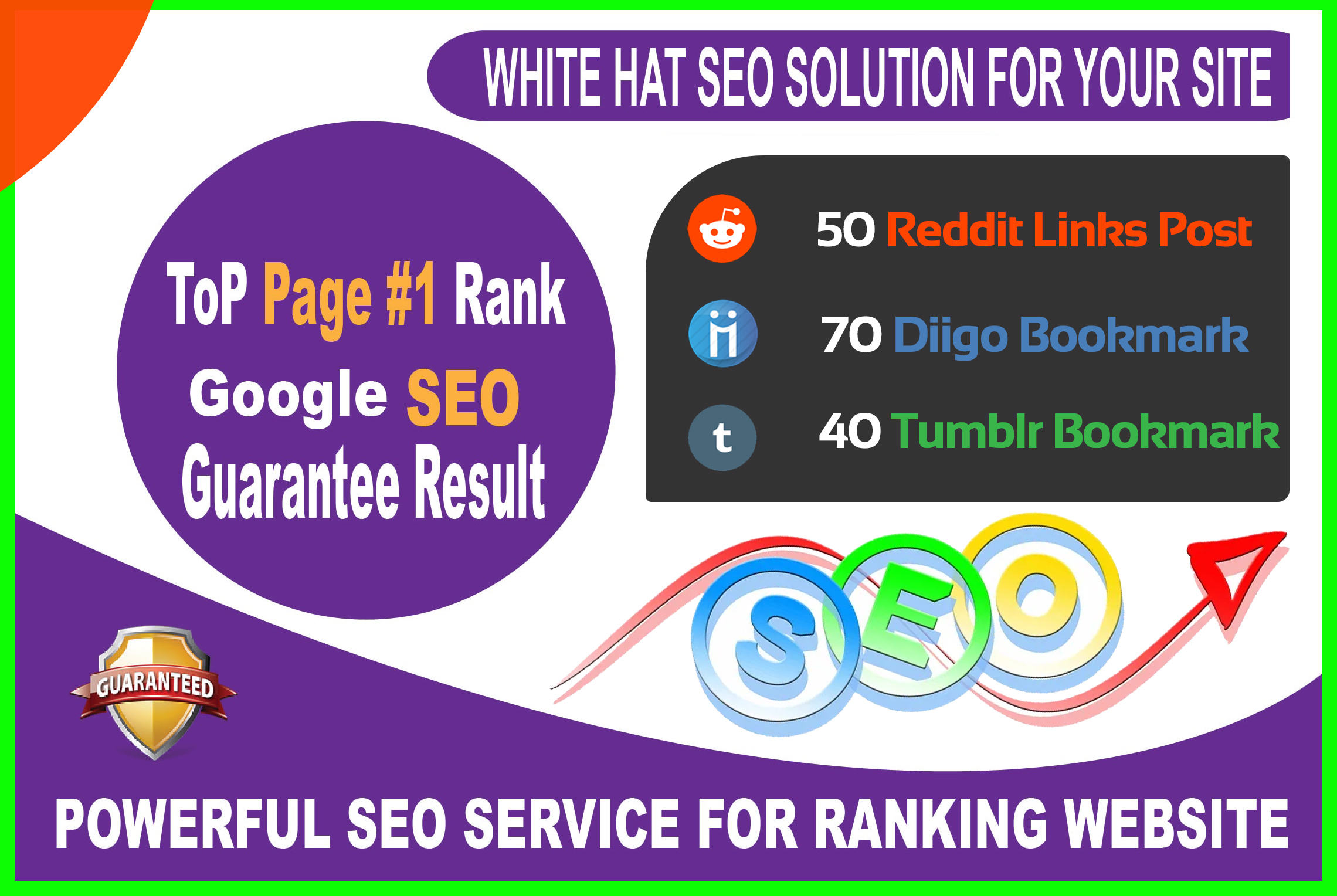 50 Reddit, 70 Diigo, 40 Tumblr Signals Powerful Social Bookmarks Rank your website in Google 1st page