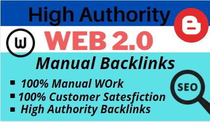 Build 20 High DA PA Contextual web 2 0 backlinks of High PR mostly dofollow