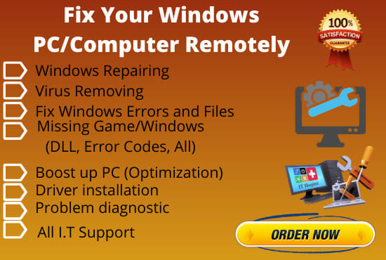 I Will Fix Your Windows PC,  Computer, Laptop Remotely