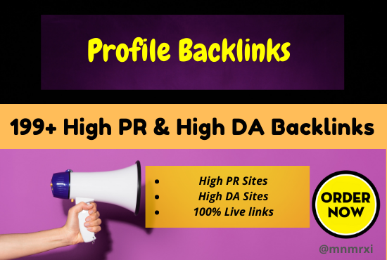 I Will Create 199 +Authority Profile Backlinks DA About 50 to 98 Elevate Your Site Ranking