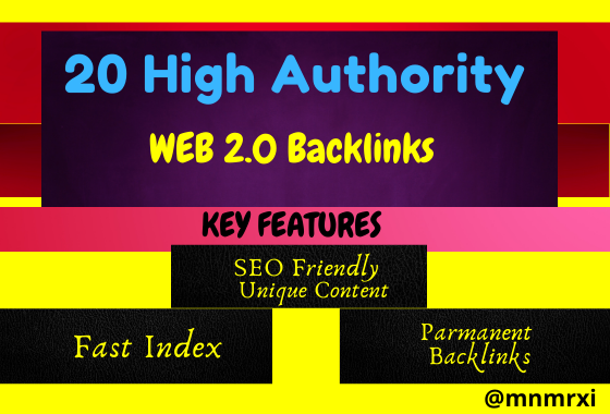20 High Authority Contextual WEB 2.0 Backlinks