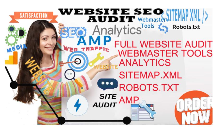 website seo audit setup webmaster,  analytics, sitemap, amp