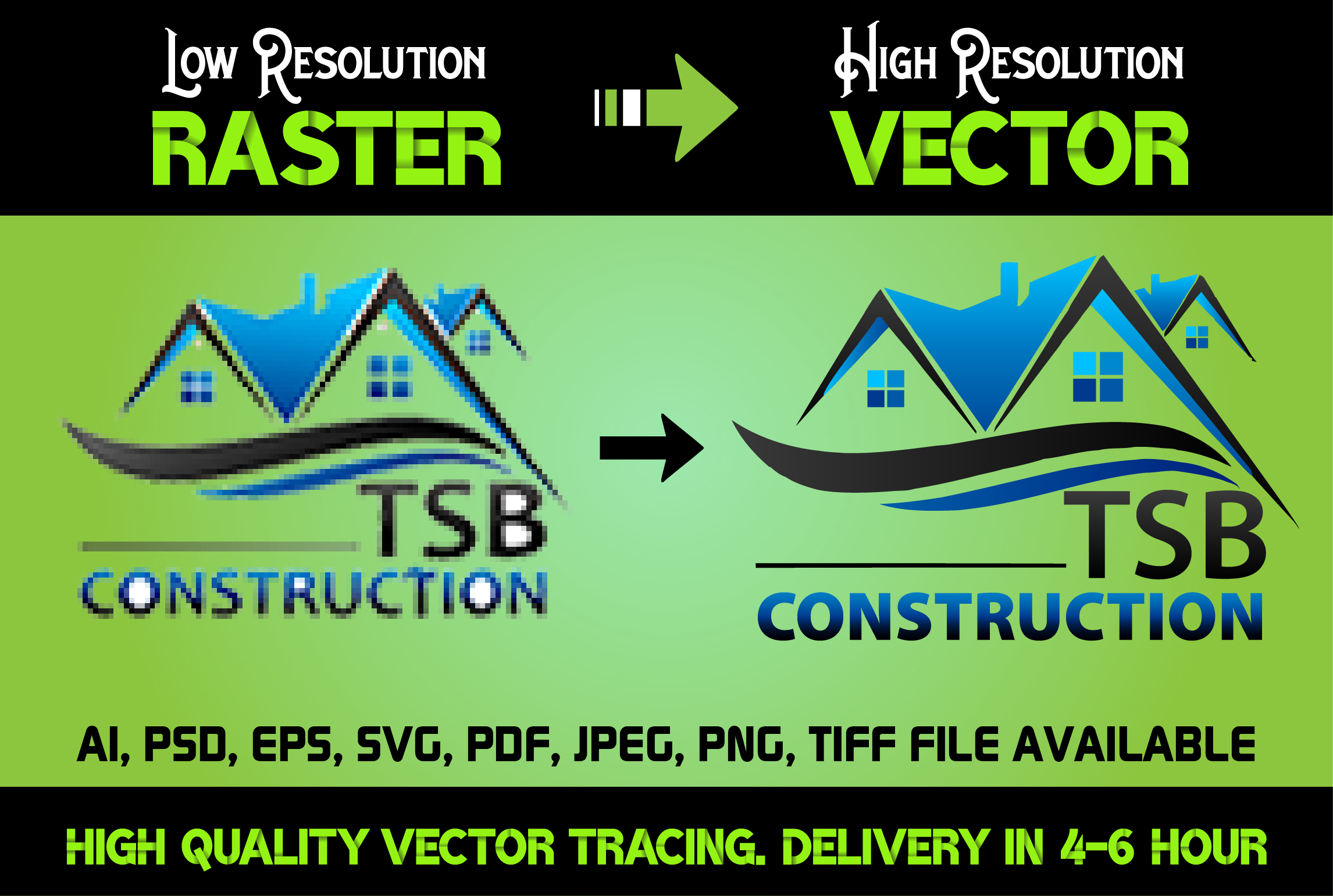 I will Convert Raster Logo,  Image in Vector File High Resolution