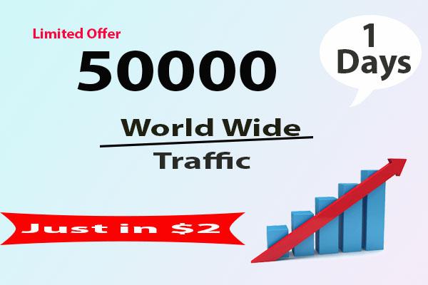 Provide 50000 worldwide website Traffic Just in 24 hour