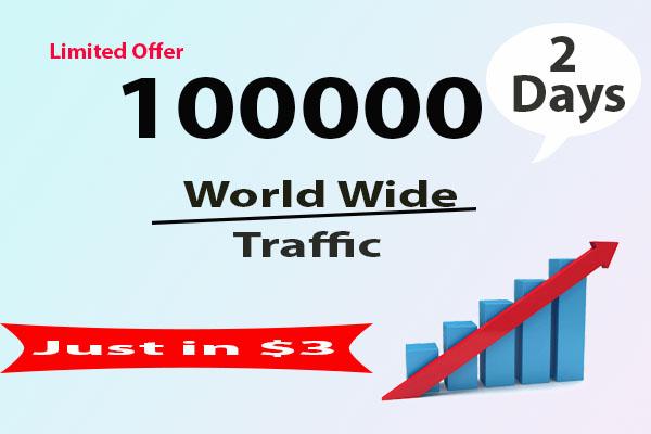 Build 100000 or 100k world wide website traffic in 48 hour