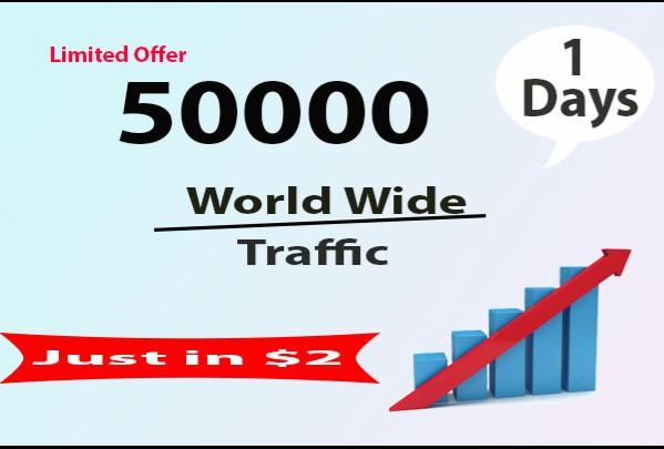 Provide 50000 worldwide website Traffic Just in 3 hour