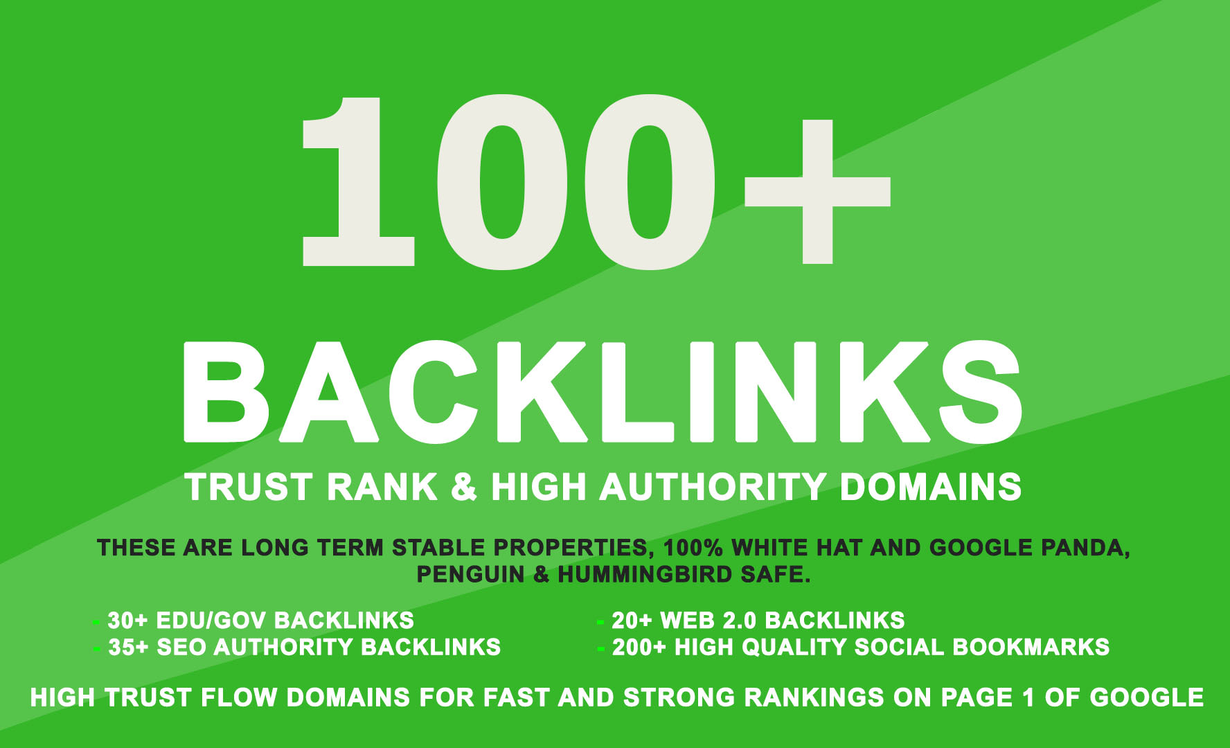 I will do 110 high pr SEO backlinks for rank 1 on google