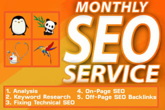 Complete monthly SEO service with backlinks for Google Top ranking