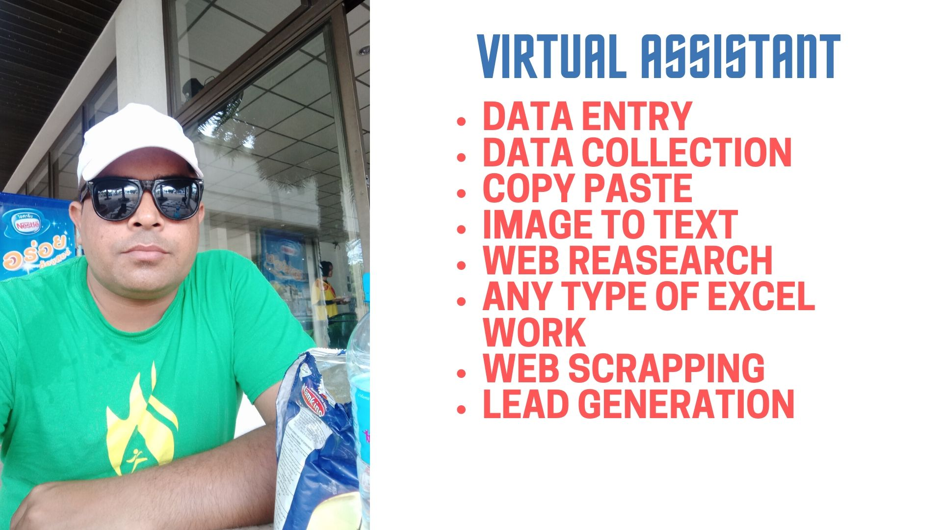 Data Entry, Data collection Copy Paste,  Web research, Email scrapping, Lead Generation