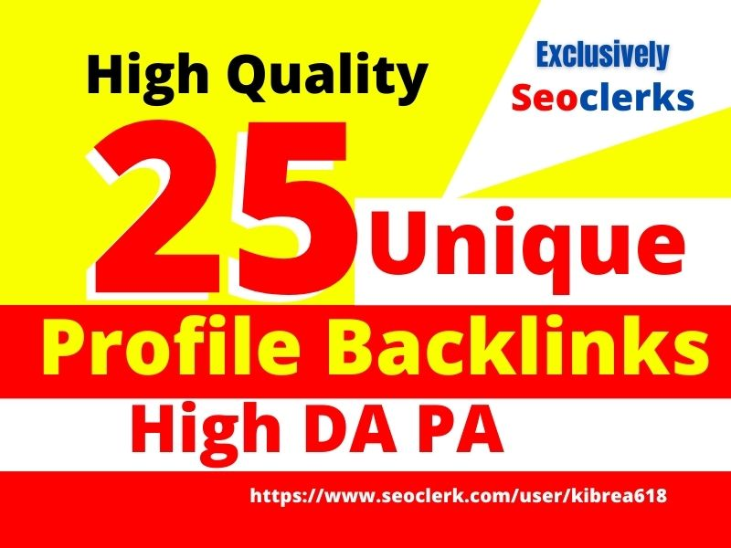 I will create 25 quality dofollow seo profile backlinks manually