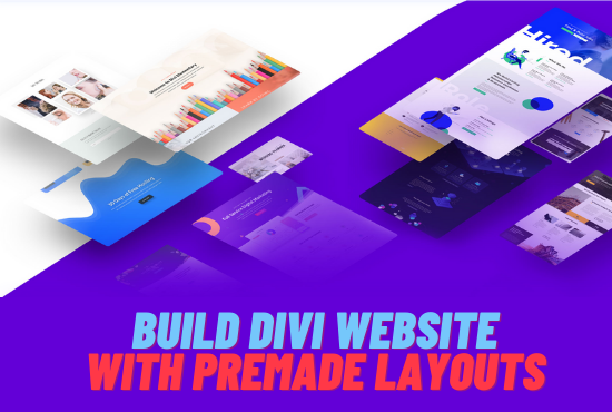 I will install and build a divi theme website with premade layouts