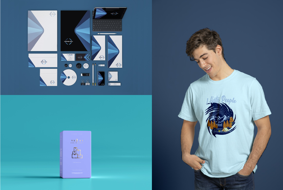 I will do a 3d Logo mockup, T-shirt mockups, and Product Packing box design