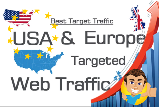 I will bring USA, UK, EUROPE targeted web traffic by Google Twitter YouTube and many more for 30 days