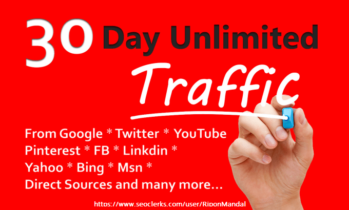 I Will Provide Unlimited web traffic By Google Twitter YouTube and many more to website for 30 days