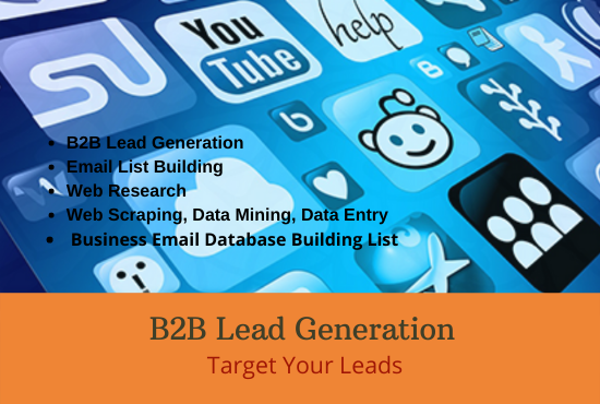I will do b2b lead generation,  data entry or web recharge and email list