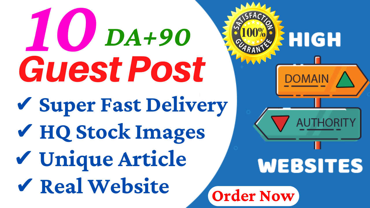 Write And Publish Guest Post On 10 Websites DA 95,  PA 80 With Free Google Indexing