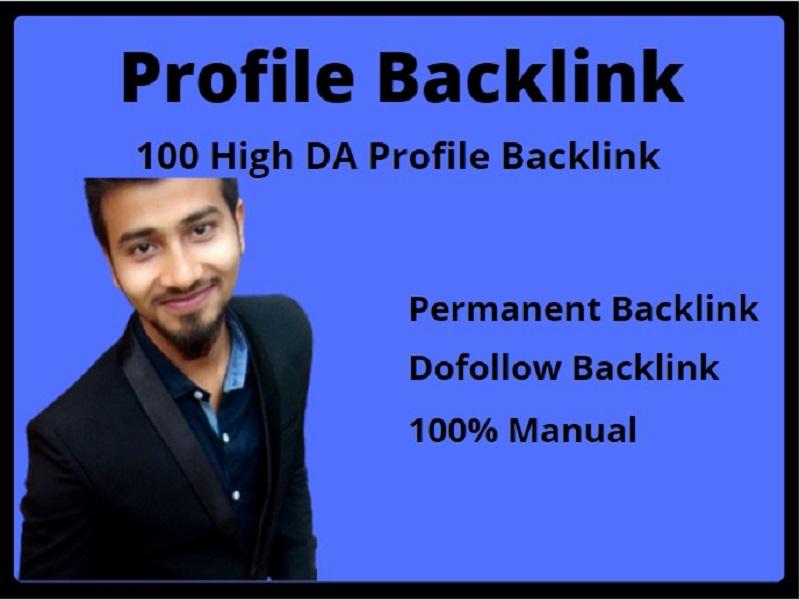 I Will Provide 100 High DA Profile Backlinks Manually For SEO Ranking