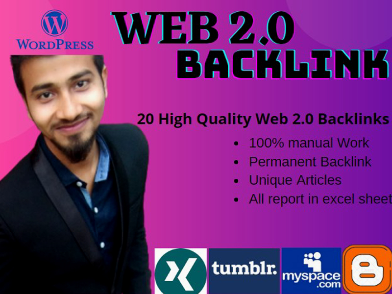 I will create 20 high quality web 2 0 backlinks