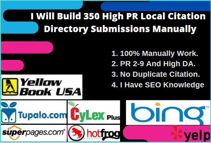 I Will Do 350 High PR Local citation Directory Submissions Manually