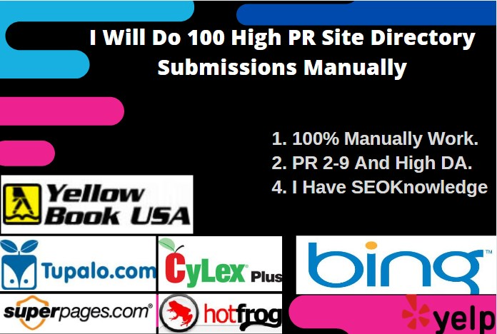 I Will Do 100 High PR Site Directory Submissions Manually