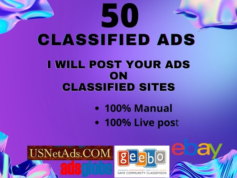 I Will Post Your Ads On 50 High PR Classified Websites.