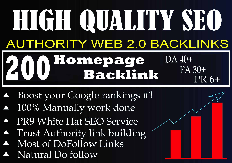 I Will Provide DA 40+ PA 30+ PR 6+ Web2.0 200 homepage Backlink in 100 do-follow in unique site