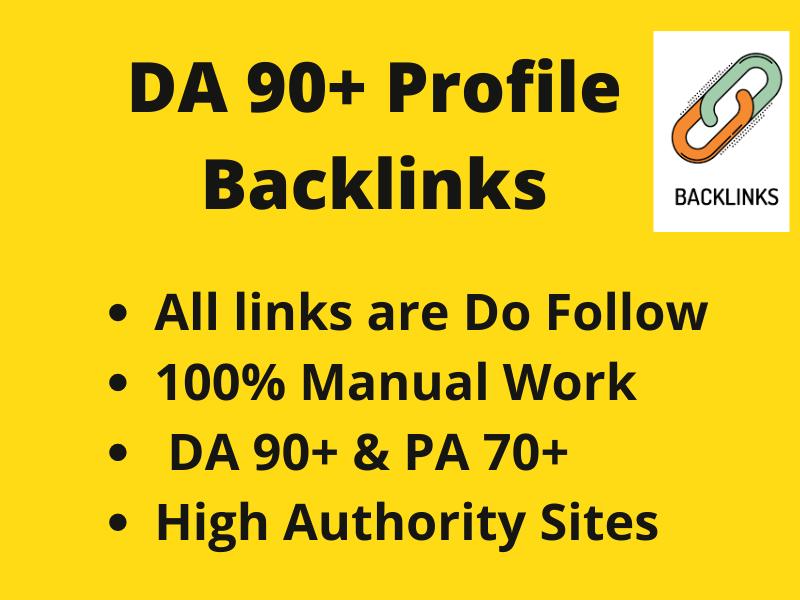DA 90+ High Quality powerfully 20+ Profile Backlinks