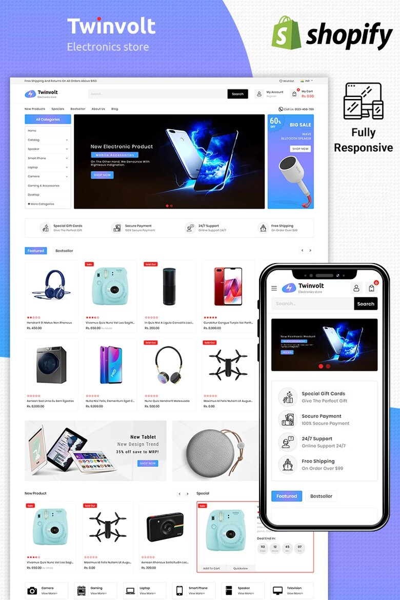 I will design a Shopify compatible with all smart devices shopfiy design