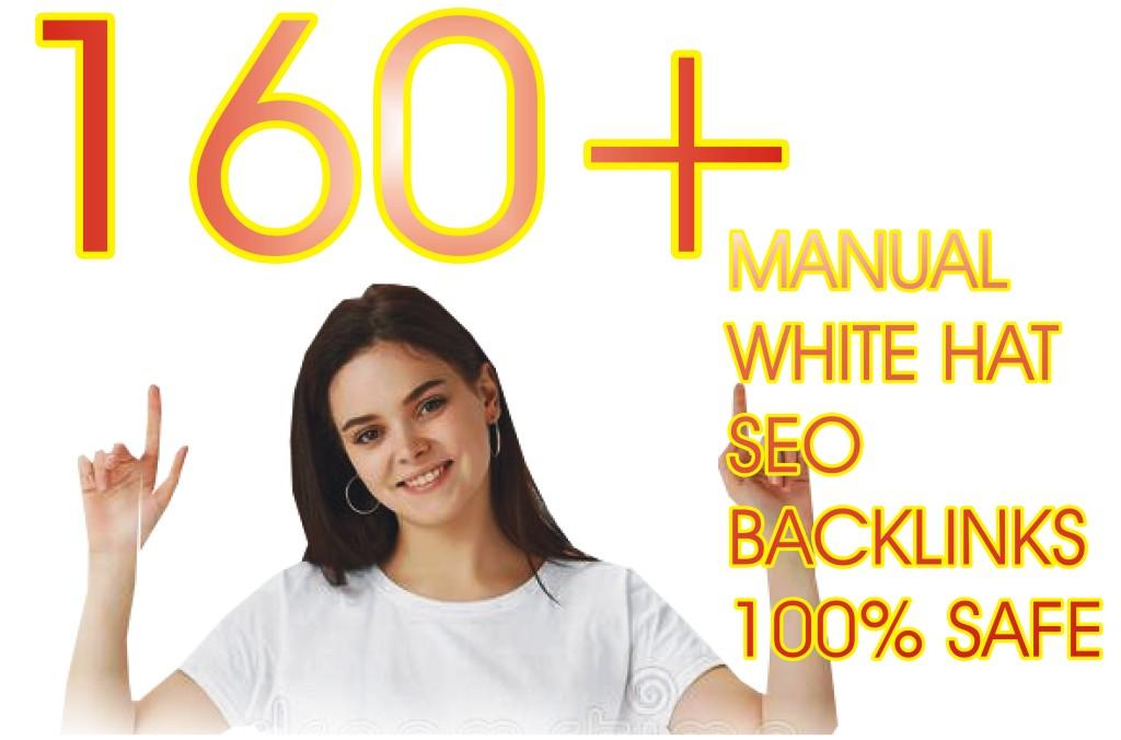 I build manual white hat SEO 160+ backlinks
