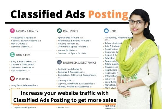 I will post your ads on top ranking classified ads posting sites