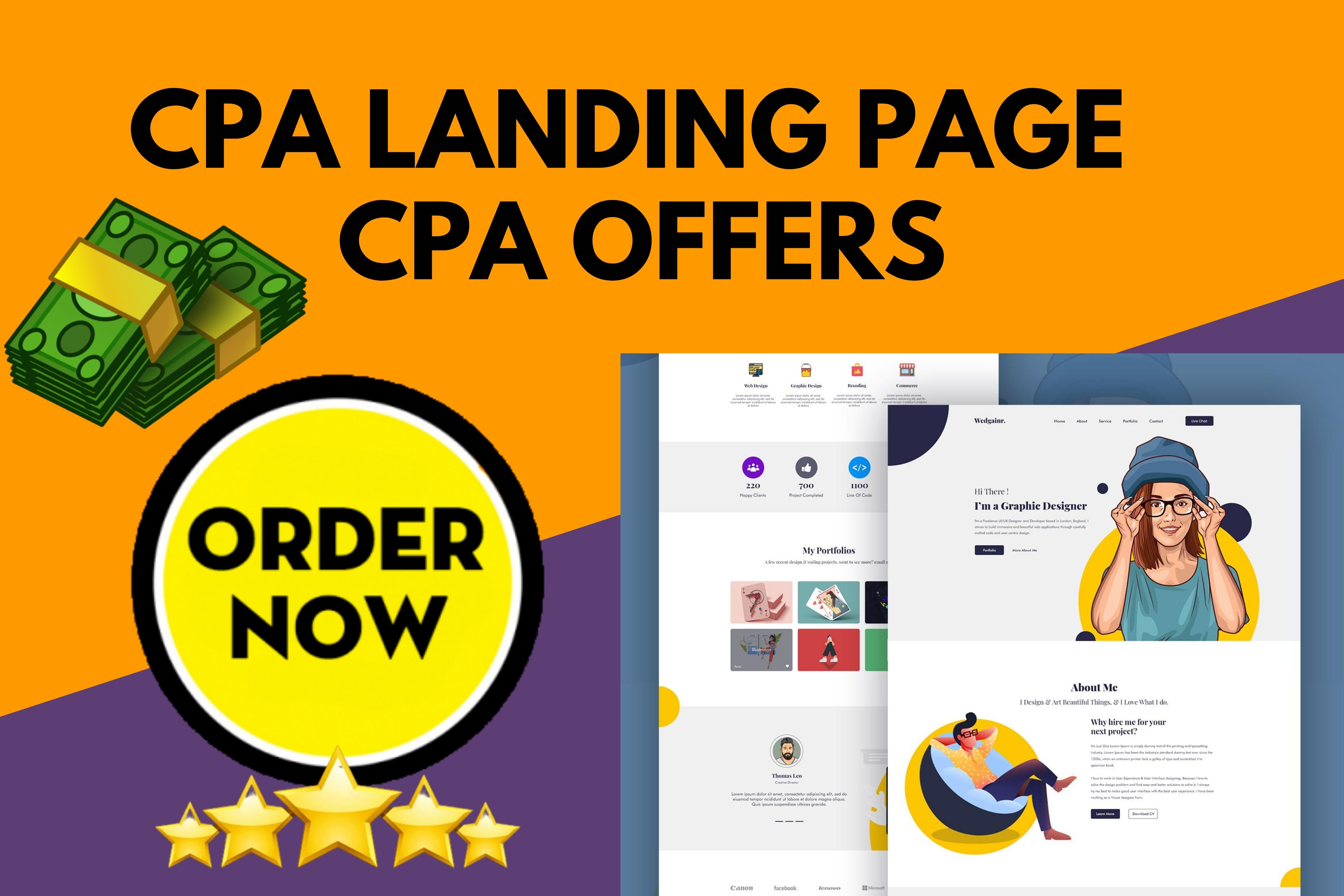 I will design responsive and attractive CPA landing page for CPA Marketing