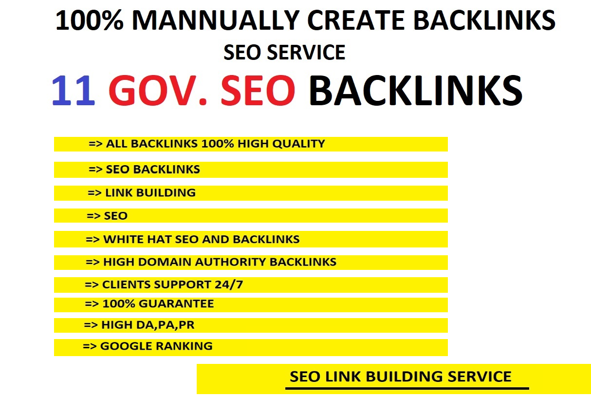 11 High quality Gov. backinks and google ranking
