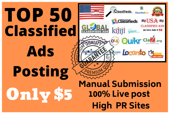 I will do 50 manually post your ads in USA top classified ad posting sites