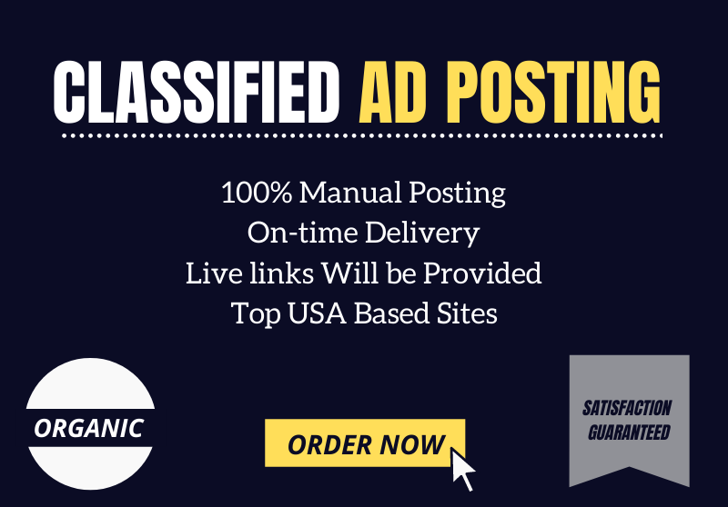 I will manually post your ads on best 30 USA classified ad posting sites