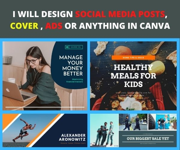 I will design social media posts,  cover,  ads in canva