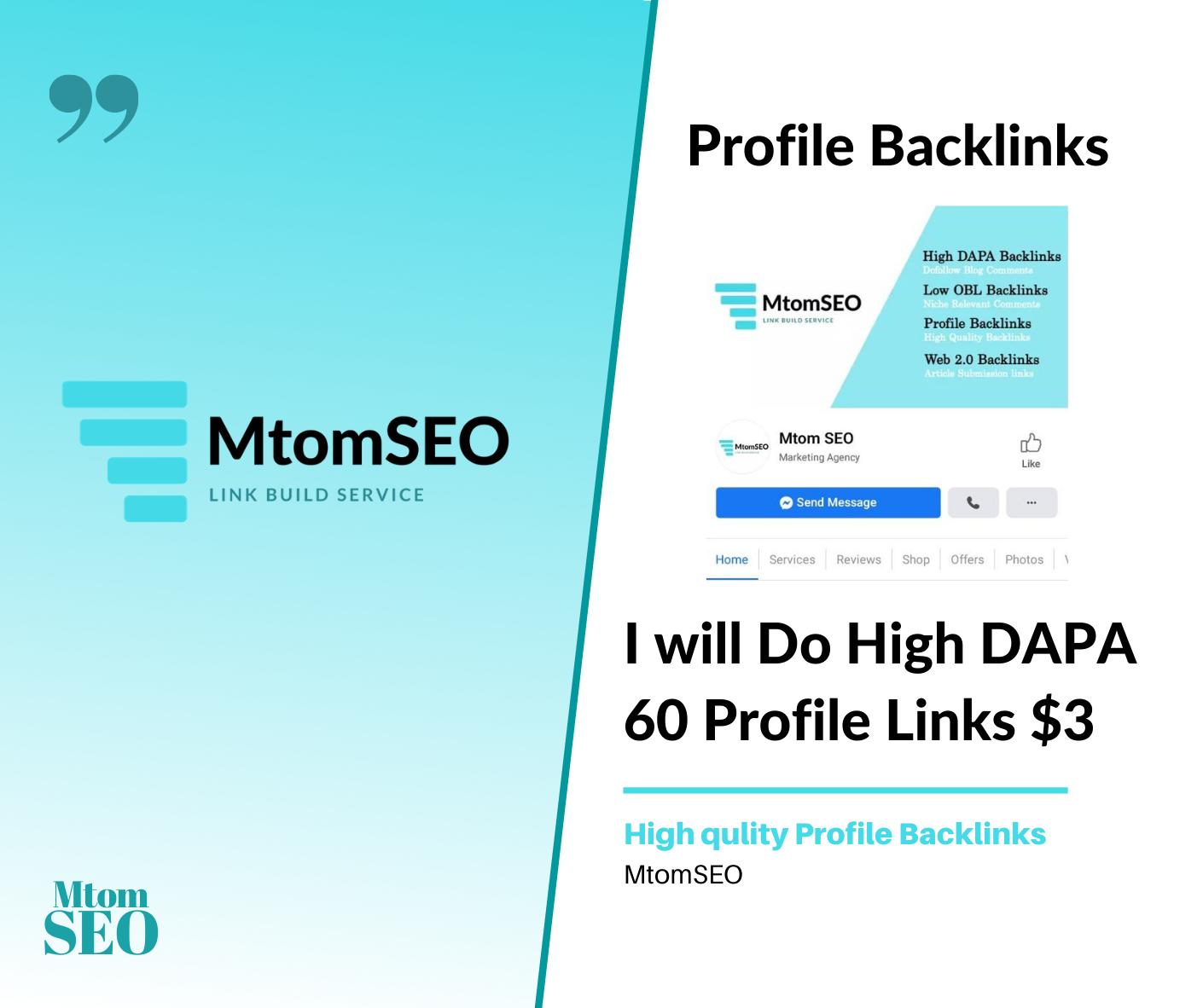 I will Create High DAPA 60 Profile Backlinks for google ranking