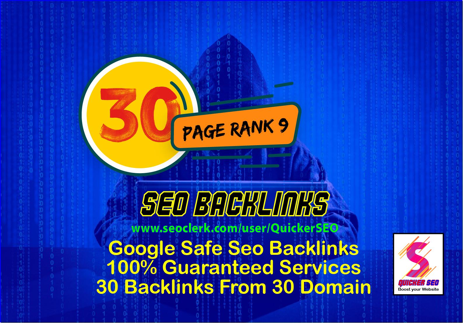 Create 30 Pr9 DA 80+ Safe SEO High Authority Backlinks 30 Domain High Quality Backlinks