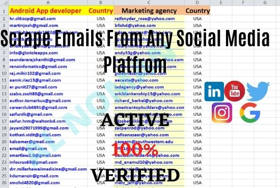 Provide 1000 Clean & Active Verified Email List For Email Marketing