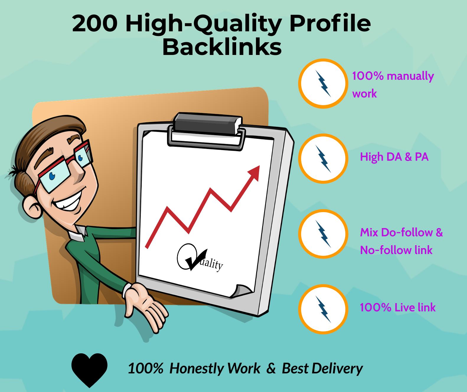 Crete 200 High Quality Profile-Backlinks With High DA 40-90+