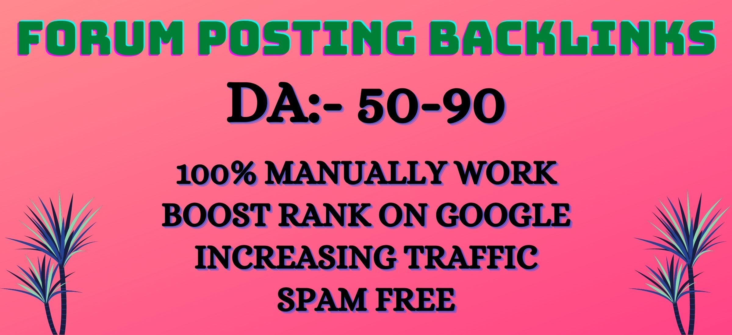 Manually create 30 forum posts backlink on high DA-50 plus sites