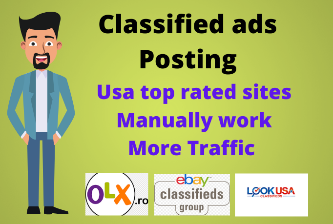 I will do classified ads posting in USA top rated sites manually