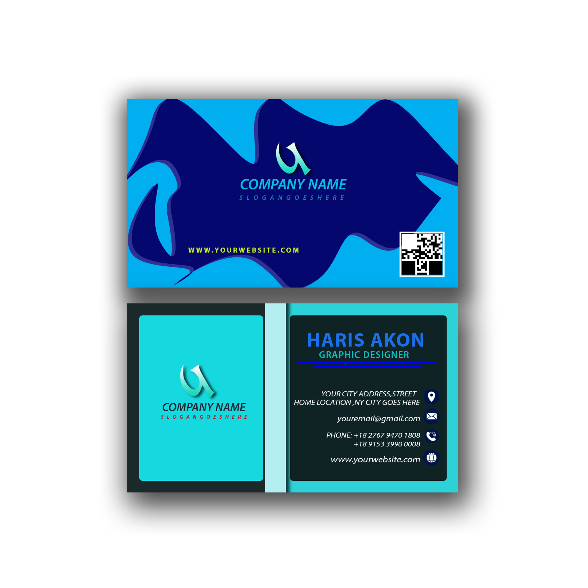 Design a beautiful and unique business card & Logo design within 1 hours