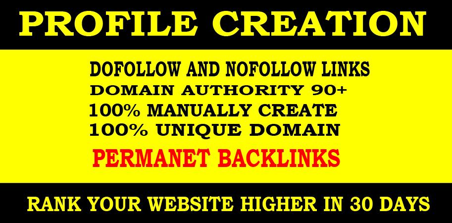 Create 25 High DA social profiles setup or profile creations backlinks