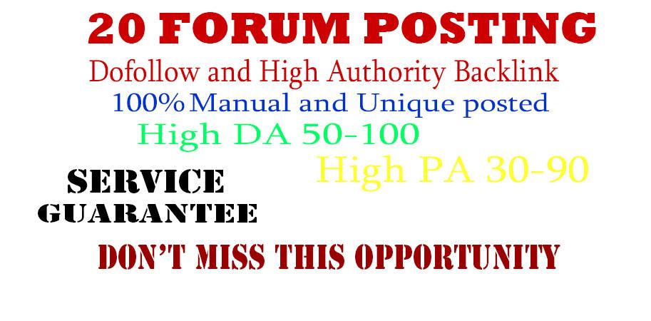 20 Forum posting back-link and high DA 90+