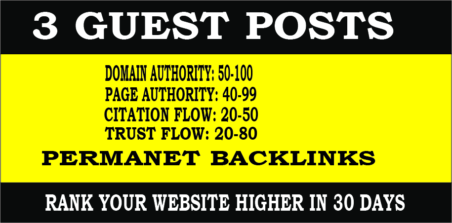 Publish 3 HQ guest post on Seo ranking