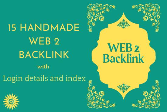 Handmade 15 web 2 Backlink with login details and index all Backlink