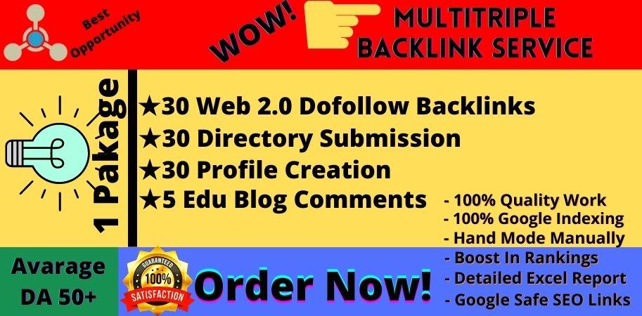 I will Provide Manually Multitriple White Hat SEO Backlinks Service